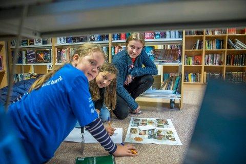"""STORYBOARD: Sunniva Elise Tysvær Nymoen (10) og Ea Maiken Johnsen skal lage tegneserie til """"Barn er bra!-avisa"""" og får tips av leder Tiril Kristine Sortland."""