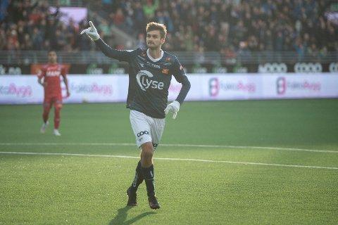 MÅLSCORER: Vikings Johnny Furdal jubler under kampen mellom Viking og Kongsvinger på SR-Bank Arena. Foto: Carina Johansen / NTB Scanpix
