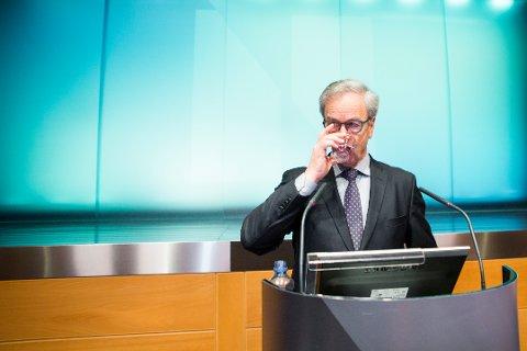 Sentralbanksjef Øystein Olsen har varslet at styringsrenten kan bli hevet ved utgangen av 2018 eller i starten av neste år. Foto: Erlend Daae / NTB scanpix