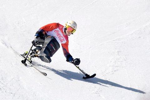 Pyeongchang, Sør-Korea 20180313. Jesper Saltvik Pedersen kjører Super-G underkombinasjonen  for sittende under vinter-Paralympics.   Foto: Jessica Gow/TT / NTB scanpix