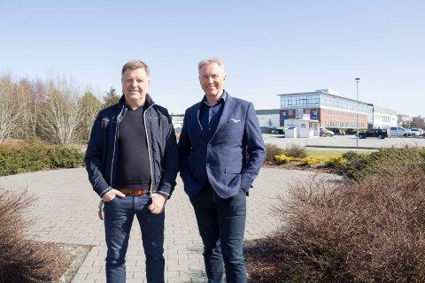 VIL BYGGE: De ser for seg en ny bydel. Med 1.000 boliger og mer næring på området ved meieriet ved Karmsundgata. F.v. Ole Ben Pedersen i Berg Eiendom og investor John Gilbert Helgeland.