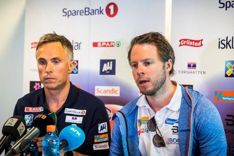 Landslagssjef Vidar Løfshus (t.v.) presenterte Eirik Myhr Nossum som ny landslagstrener for menn allround i langrenn tirsdag. Foto: Heiko Junge / NTB scanpix