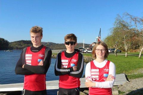 SER FRAM TIL SESONGÅPNING: Tysvær-padlerne Leander Helgesen, Nicolai Lønning og Elise Erland padler Norgescup på hjemmebane i helgen.