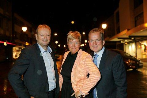 SIST: Slik så de ut valgnatta 2017. Terje Halleland (Frp) og Sveinung Stensland (H) ligger an til gjenvalg. Hege Haukeland Liadal (Ap) er ikke kandidat nå, og partiet hennes taper terreng.