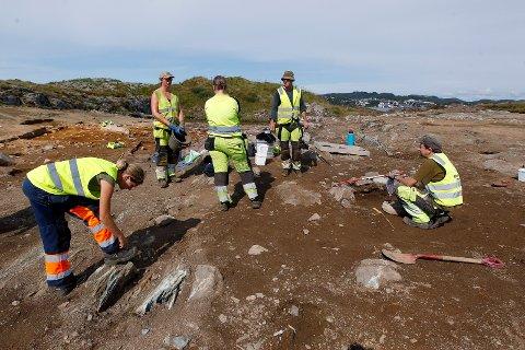 FINE FORHOLD: Ikke noe å si på utgravingssommeren på Stutøy for arkeologene Sigrid Alræk Dugstad, Ester Hofman Van de Lagemaat, Solveig Sølna Rødsdalen, Colin Amundsen og Oliver Djøseland Sørskog. Hva området på Stutøy har vært brukt til, skal det forskes mer på. Nærheten til Avaldsnes og langhusene funnet der, får arkeologene til å tenke at det var der de bodde, mens Stutøy var et område hvor en utnyttet utmarksressurser og kanskje marine ressurser i Karmsundet.