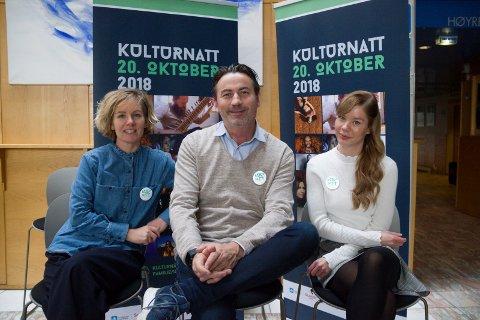 EN DAGS FESTIVAL: - I år kjører vi Kulturnatt over en dag, lørdag 20. oktober, forteller produsentene Randi Lofthus, Tom Erik Anfinsen og Kaja Rosholt.