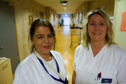 LANGE VAKTER: Sykepleierne Elin Stensrud (t.v.) og Nina Grude går 13-timers vakter på lørdag og søndag, men bare hver fjerde helg.