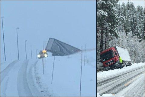 Flere vogntog i trøbbel fredag formiddag. Til venstre er vogntoget Paulsen var på vei for å berge, mens til høyre er et vogntog som ble stående fast i grøften mellom Vågslid og Edland like etter klokken 11.