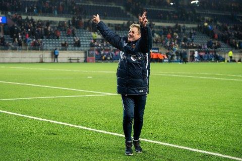 NM fotball menn 2019, semifinale: Viking - Ranheim Vikingtrener Bjarne Berntsen jubler etter kampen mellom Viking og Ranheim på SR-Bank Arena som endte 3-0. Foto: Carina Johansen / NTB scanpix