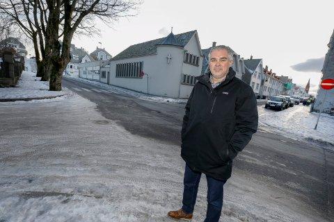 NYTT PROSJEKT: Administrerende direktør i HAUBO Svend Inge Stueland har inngått avtale om kjøp av Sentrumkirkens eiendommer, like ved Byparken i Haugesund. Eiendommene består av Kirkegata 222 og 220 samt Skåregata 225 og 223.