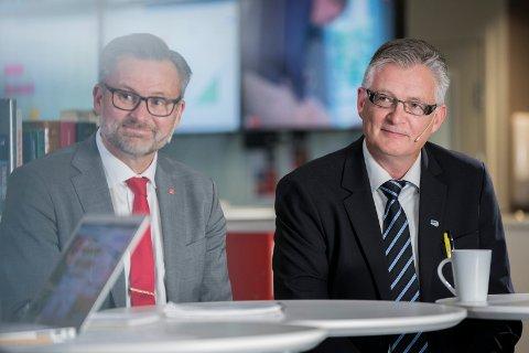 Jarle Nilsen og Tor Kristian Gaard under mandagens valgsending.