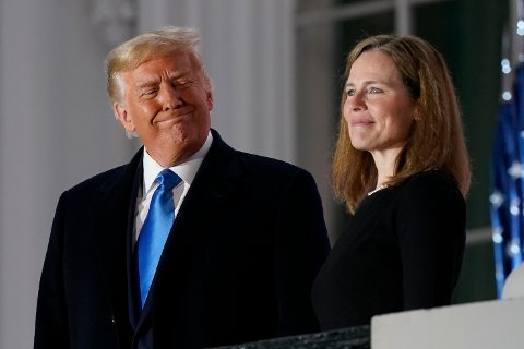 President Donald Trump og Amy Coney Barrett.