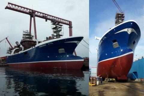 PÅ VEI: MS «Vikingbank» er sjøsatt, og ventes til Norge om noen uker. Skipet skal slepes til Fitjar, hvor det skal innredes og utrustes i noen måneder før det tas i bruk.