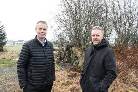 Norheimsmarka boligfelt skal huse cirka 50 boliger. Kjetil Alvheim og Asbjørn Hovland i Odd Hansen. Prosjekt.