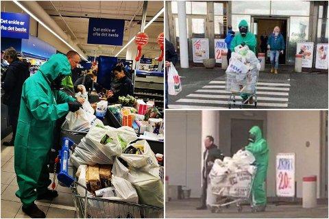 GODT BESKYTTET: Mannen gikk på butikken i heldrakt. Bildene har spredt seg i sosiale medier torsdag kveld.