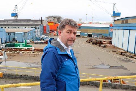 FÆRRE ENN NORMALT: Det mangler en del utenlandske arbeidere ved verftet i Haugesund om dagen, forteller Aibel-tillitsvalgt Rune Eriksson.