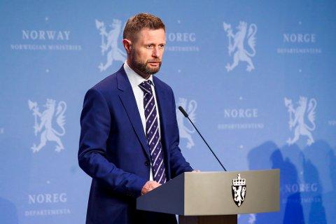 Helse- og omsorgsminister Bent Høie under den daglig pressekonferansen om koronavirus-situasjonen tidligere denne uka.