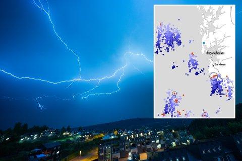KRAFTIGE BYGER: Innfelt på bildet er lynradaren til Meteorologisk Institutt i 08.40-tiden. De hadde da registrert over 1800 lyn i havområdet utenfor Sør-vestlandet og over Jæren.