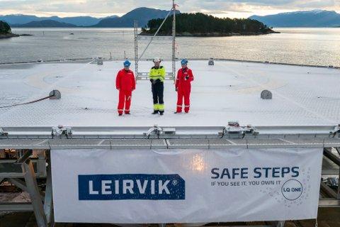 INDUSTRIBEDRIFT: Leirvik AS, her fra da de hadde gjort klart et nybygget helikopterdekk og nødboligmodul til Aker Solutions.