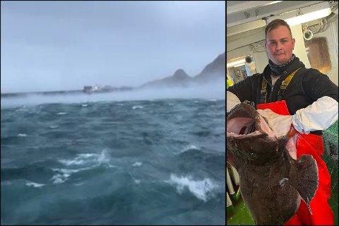 NATURKREFTER: Storm og høye bølger har gjort at Kristoffer Sørvik Rasmussen og resten av mannskapet må ta en pause i Lofotfisket.