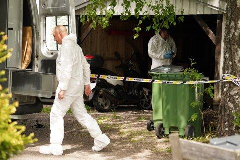 ÅSTEDET: Ifølge politiet ble Kristian Løvlie (34) drept i denne garasjen. Deretter ble han fraktet til en parkeringsplass noen kilometer unna – hvor han ble funnet død nesten et døgn etter drapet.