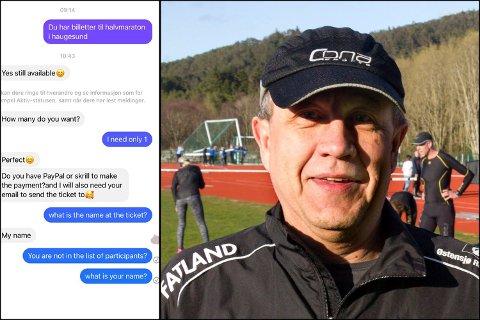 TOK KONTAKT: Leder i halvmaratonkomiteen, Willy Postvoll, tok kontakt med en person som hevdet å ha billetter til arrangementet 5. juni. Da han begynte å stille spørsmål, ble det stille.