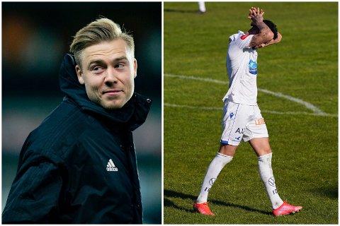 REAGERER: Tidligere FKH-spiller Alexander Søderlund (til venstre9) skryter av ferdighetene til Kristoffer Velde (til høyre), men han kan spare seg for «de kastegreiene».