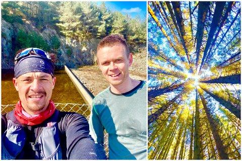 «JEG GIKK EN TUR PÅ STIEN»: Stian Helgesen (t.v.) og Kjetil Vold trives i skogen. Og spesielt i Karmøyheiene.