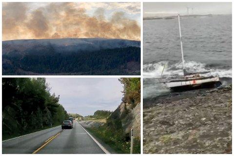 VINNERVIDEOER: En stor gressbrann, en stygg forbikjøring og en havarert seilbåt. Disse innsendte videoene ble belønnet med 5000 kroner.