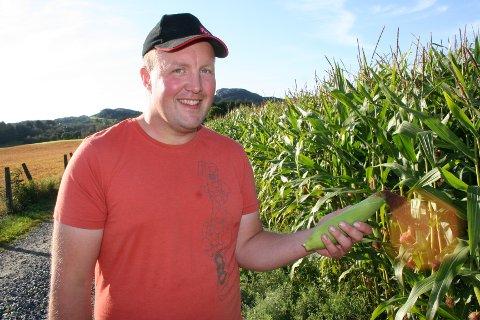 EIT PRØVEPROSJEKT: Lars Henry Dagsland har planta 10 dekar med mais. Tilsaman har bønder i Etne og Vindafjord sådd mais i 120 dekar denne første testsesongen.