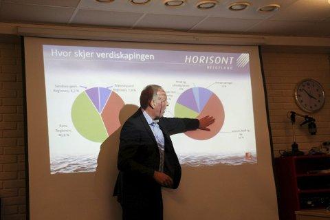 Foredrag: Forsker Erlend Bullvåg ved UiN presenterte 23. oktober «Horisont Helgeland» i Mosjøen, et magasin hvor han skriver at en ny flyplass vil være på plass i 2020. Foto: Rune Pedersen