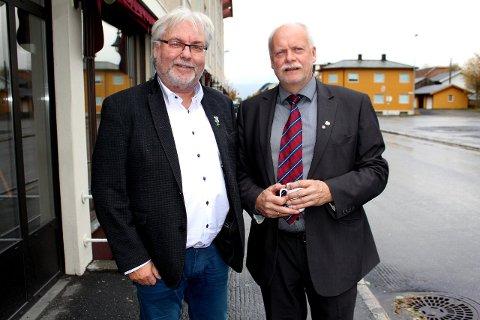 Optimist: Kai Henriksen (t.v.), ordfører i Rana, mener at to regionale flyprosjekt i samme fylke er til det beste for regionen. Her med ordfører Jann-Arne Løvdahl fra Vefsn. Arkivfoto: M.A.