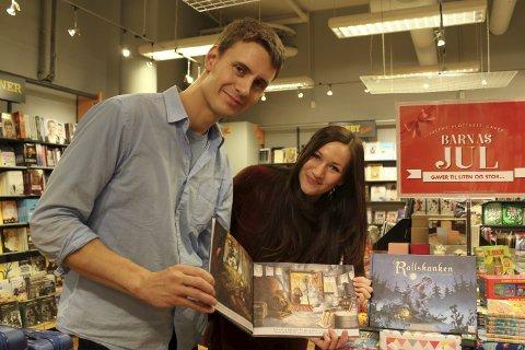 Fornøyd: – Vi er superfornøyde med den ferdige boka, sier forfatter Aleksander Leines Nordaas og illustratør Sandra Steffensen.