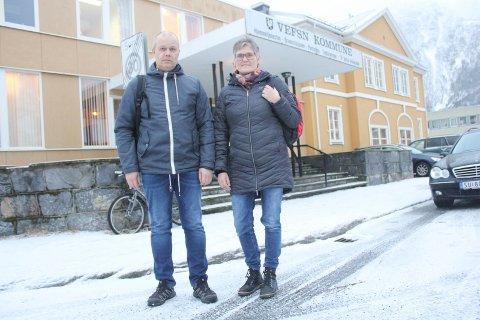 ALVORLIG: Ronny Urheim og May-Britt Mørch Jacobsen beskriver en alvorlig situasjon for bemanningen i helse- og omsorgssektoren i Vefsn kommune. Foto: Jon Steinar Linga