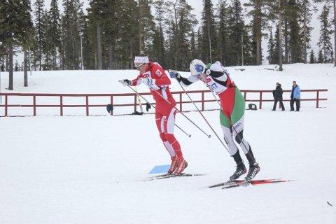 Sm og minitour: Tarjei Solli deltok i SM på femmila, og i en minitur i Gällivare. Det ble mange fine plasseringer på Drevja-løperen. Her i spurtduell mot Johan Häggström i Dundret Runt.foto: privat