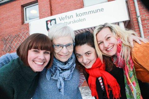 SAMLOKALISERT: Kulturskolerektor Marit Thrana (t.v.) enhetsleder Irene Bergsnev, og musikkskolelærerne Saska Cvijanovic og Minda Marie Fiskum.