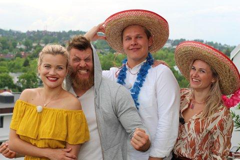 Sandra Lyng Haugen, Emil Weber Meek, Vegard Harm og Caroline Glomnes skal i januar bytte på å lage mat til og underholde hverandre.