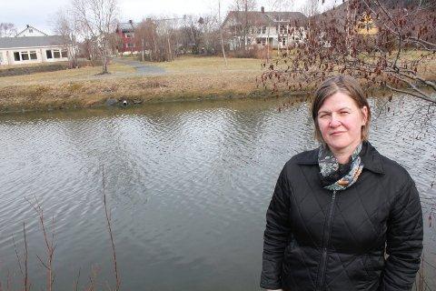 HER: Irene Gustafsson viser hvor brua skal bygges. Vi ser deler av Nervollan boligområde på den andre siden av Skjerva. Foto: Jon Steinar Linga