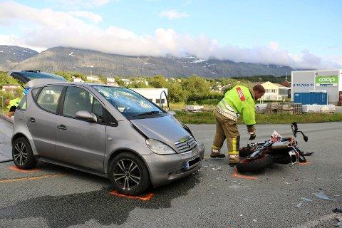 SØVIKVEIEN: Ulykken skjedde litt sør for Sandnessjøen sentrum