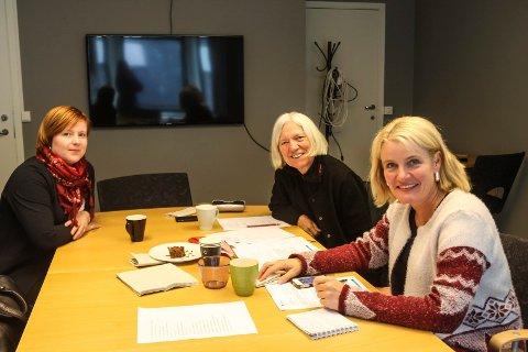 Kvinneuniversitetet i Norden planlegger konferanse om forebygging av vold mot gravide kvinner. Rundt bordet sitter Åshild Pettersen (t.v.), Arna Meisfjord Kjersti Kvalvik.