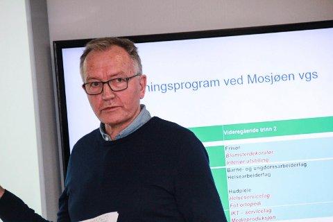 VIL HA INNSPILL: Rektor Kurt Henriksen ved Mosjøen videregående skole i Vefsn formannskap tirsdag.