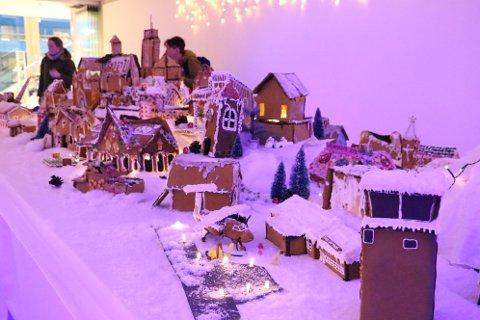 Utstillingen består av nærmere 50 kreative konstruksjoner, og sammen utgjør de pepperkakebyen som skal stå i galleriet på Kulturbadet fram mot jul.