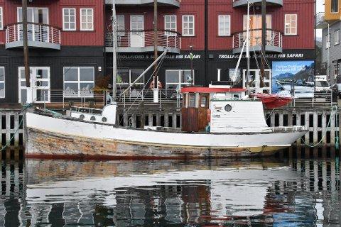 Det var denne trebåten som en ung mann fra Sandnessjøen kjøpte for en krone, og som viste seg å være pill råtten. Nå risikerer han en regning fra havnevesenet i Svolvær, på opp mot 100.000 kroner. Mannen fra Sandnessjøen sier imidlertid at ny eier skal hente båten kommende helg.