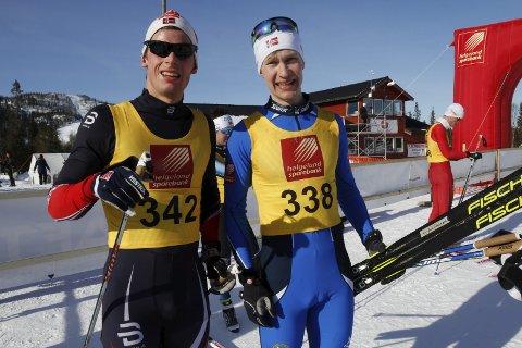 Første dag i NNM på Sjåmoen fredag. Fristil korte distanser. Rolf Eibar Jensen og Emil Storjord Vilhelmsen