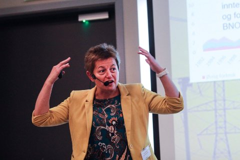 ENGASJERT: Verksdirektør Kathrine Næss ved Alcoa i Mosjøen ga et engasjert innlegg i konferansen på Fru Haugans Hotel. Hun sa humoristisk at dersom historien om nettleie vært en del av en tegnefilm så hadde det kommet røyk ut av hodet hennes.