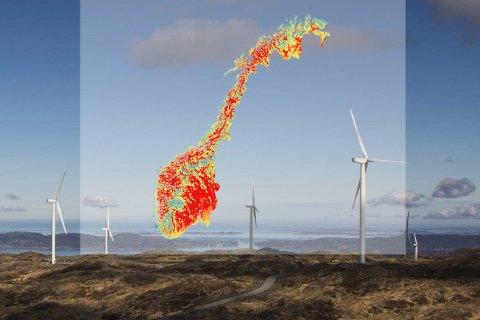Bildet er hentet fra forsiden til NVEs forslag til Nasjonal ramme for vindkraft. Kartet gir et overordnet bilde av hvilke større områder i Norge som er mest egnet for vindkraft ut ifra vindforhold, skogsdekning og terrengkompleksitet.  Figur 40, side 98 av rapporten.