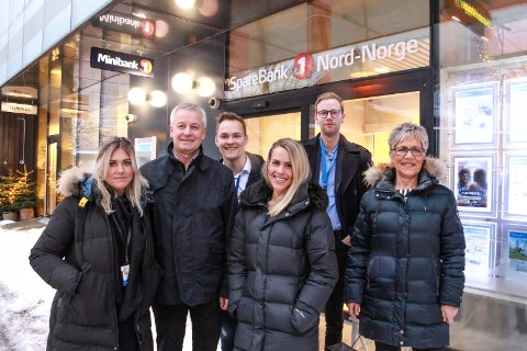 Ferske fjes i SpareBank 1 Nord-Norge: Fra venstre Birgitte Liknes, Atle Edvardsen, Jan Øyvind Westby, Lena Elise Nyborg, Sander Kristiansen Meisfjord og Sissel Valåmo