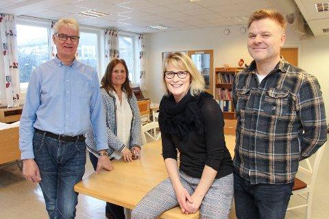 Geir Solli (t.v.), Hilde Svendsen, Bente Tømmerbakk og Ole-Kristian Sørli skal lære framtidas elektrofag- og helsearbeidere å ta i bruk den nye velferdsteknologien.