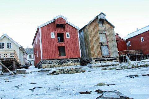 SJØGATA 9A (den røde brygga t.v.): Når stormfloa siger inn mot Sjøgata 9A og andre brygger i Mosjøens paradegate, kan det i følge NVE lønne seg at bryggegulvene ikke ligger lavere enn tre meter over et utregnet middelhavnivå.