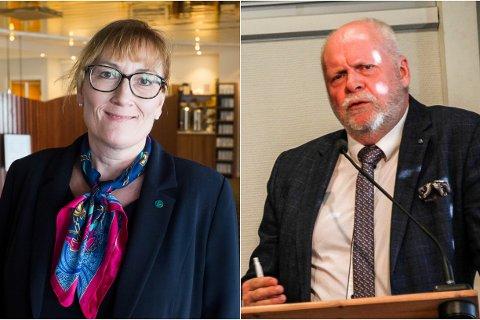 Hanne Nora Nilssen, leder i Alstahaug Venstre, og Jann-Arne Løvdahl, ordfører i Vefsn kommune.